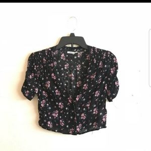 Urban outfitters black floral crop top